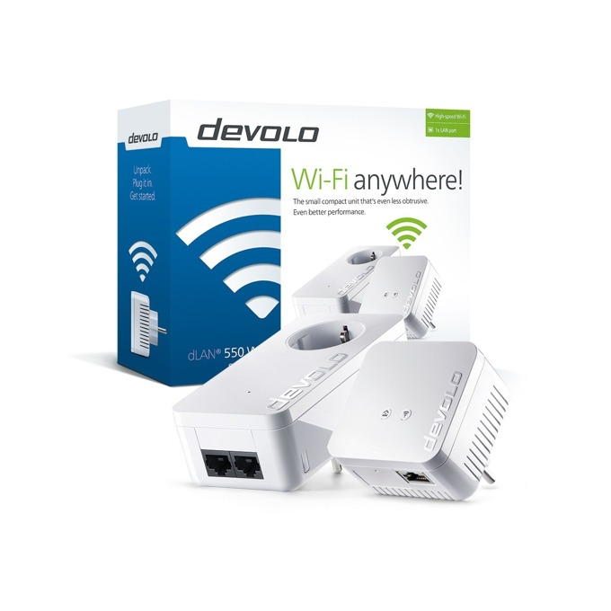 Powerline адаптери Devolo dLAN 550 WiFi Bundle, 500Mbps, до 400м обхват, 1x 10/100/1000 Ethernet порт, 2 антени, 2 устройства image