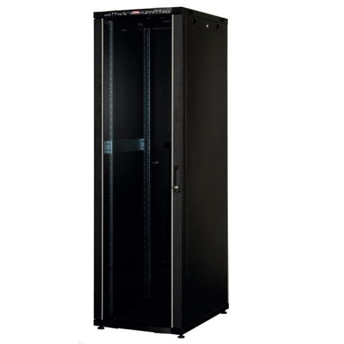 """Комуникационен шкаф Lande LN-CK26U6010-BL, 19"""", 26U, 600 x 1000 мм, стъклена врата, LCD термометър, черен image"""