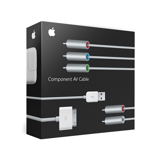 Apple Component AV Cable, съвместим с iPod nano (3, 4, 5 gen), iPod Classic, iPod touch (2 gen), iPhone 3G/GS image