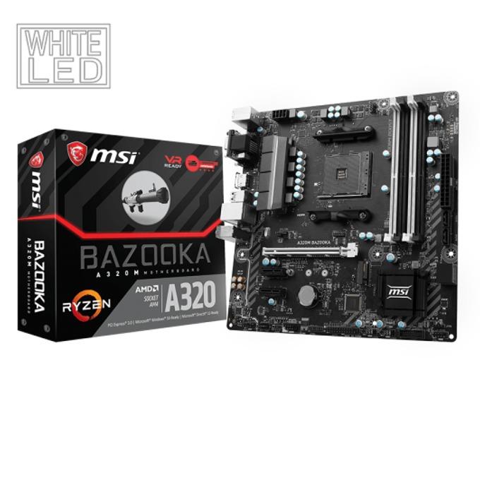 Дънна платка MSI A320M BAZOOKA, A320, AM4, DDR4, PCI-E(HDMI,DVI,VGA), 4x SATA 6Gb/s, 1x M.2 slot, 6x USB 3.1, 6x USB 2.0, microATX image