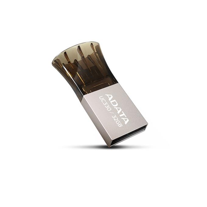 Памет 32GB USB Flash Drive, A-Data Choice UC330, USB 2.0/micro USB, сива  image