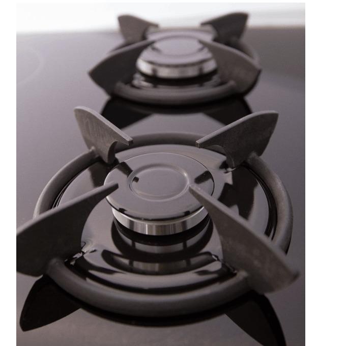 Комбиниран плот Finlux FXV 622S, за вграждане, 2 нагревателни зони, електронно запалване, емайлирани решетки, индикатор за остатъчна топлина, черен image