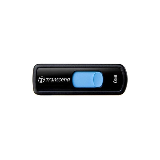 8GB USB Flash Drive, Transcend JetFlash 500, USB 2.0, черно/синя image
