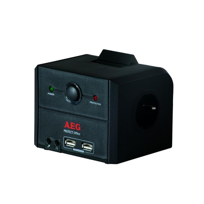 Разклонител AEG Protect Office GE, 3 гнезда (едно подвижно), защита от токови удари, защита RJ45, 2xUSB, AUX in/out image