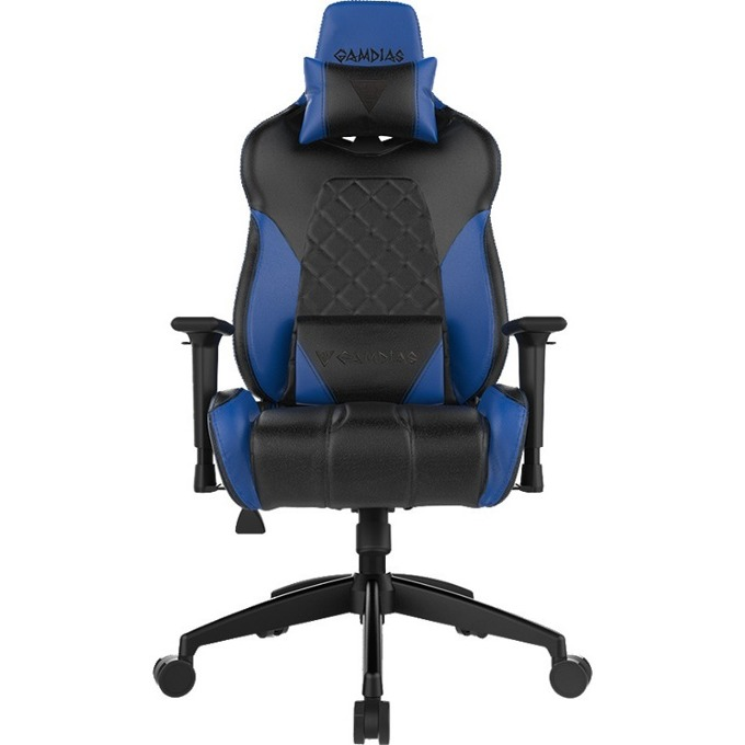 Геймърски стол GAMDIAS ACHILLES E1, газово бутало, подсветка, черен/син image