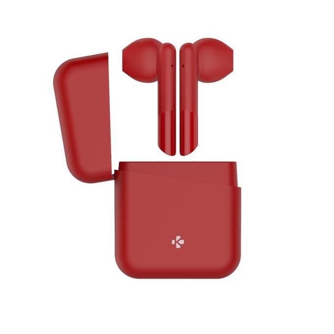Слушалки MyKronoz ZeBuds Lite, безжични, микрофон, Bluetooth, кутия за зареждане, червени image