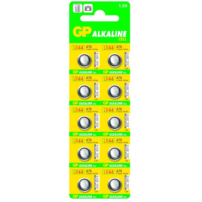 Бутонна алкална батерия GPА76 LR-44/ 10 бр.