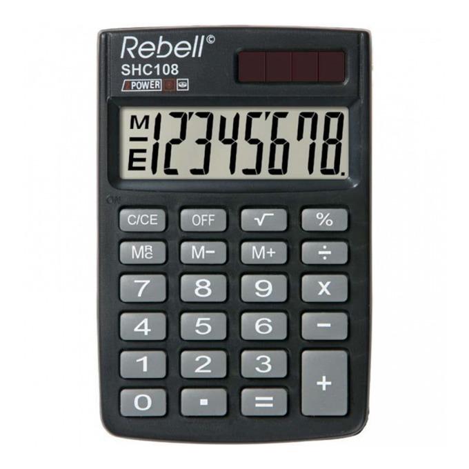 Калкулатор Rebell HC108 pocket line, 8 разряден дисплей, черен image