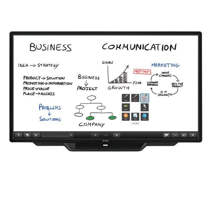 "Интерактивен дисплей SHARP PN80TC3, 80""(203.2 cm), Capacitive Multi Touch, Full HD, VGA, HDMI, DisplayPort, USB, RS232, RCA, LAN, черен  image"