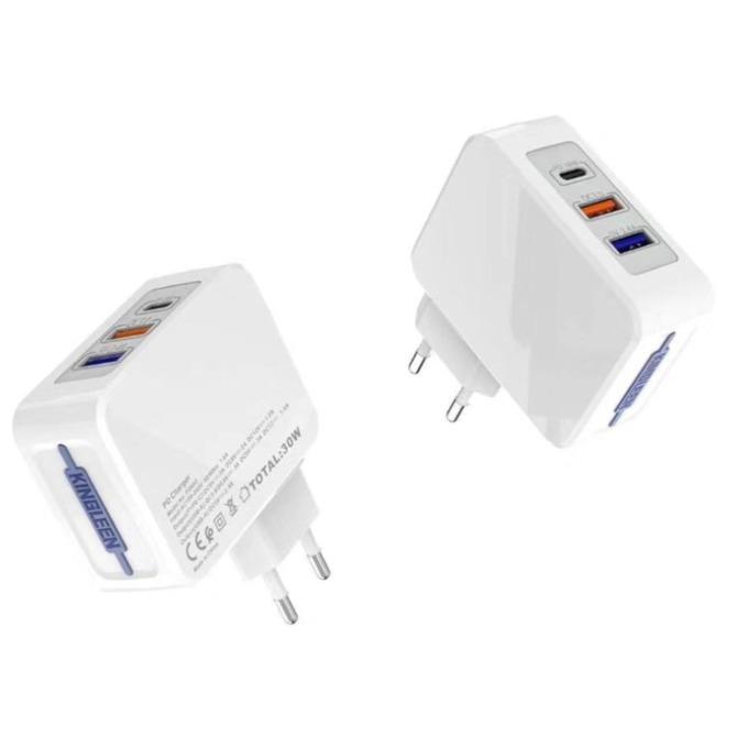 Зарядно устройство Kingleen PD862, от контакт към 2x USB A(ж)/1x USB C(ж), бяло image