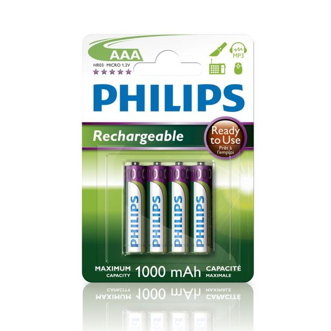 Батерии 4x Philips Rechargeable AAA, 1000mAh, 1.2V image