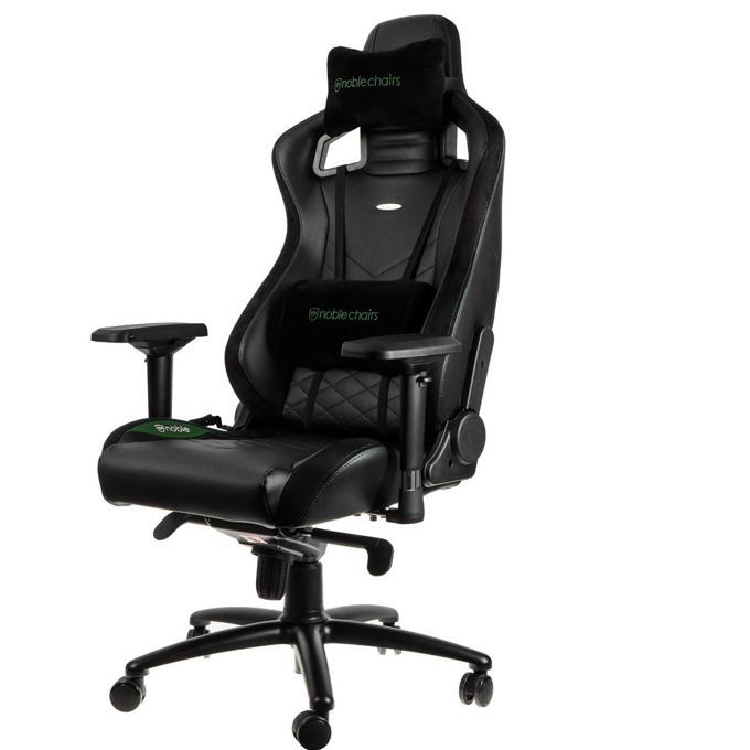 Геймърски стол noblechairs EPIC, кожен, черен със зелен надпис image