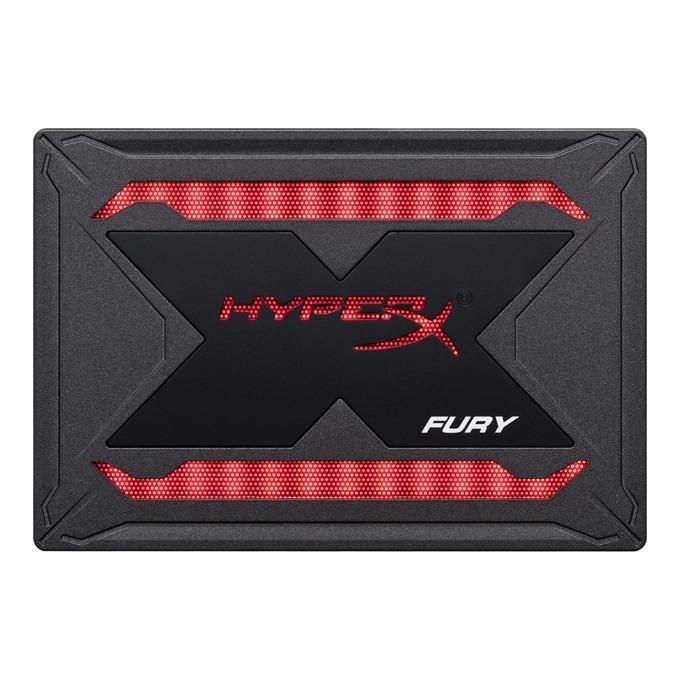 "Памет SSD 240GB, HyperX Fury RGB, SATA III 6Gb/s, 2.5"" (6.35 cm), скорост на четене 480 MB/s, скорост на запис 550 MB/s, RGB подсветка image"