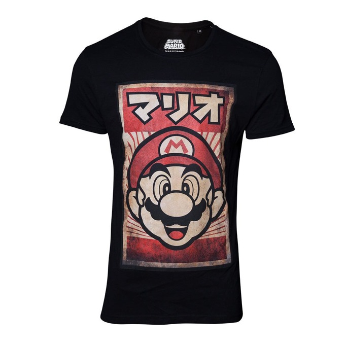 Тениска Bioworld Nintendo Propaganda Poster Mario, размер L, черна image