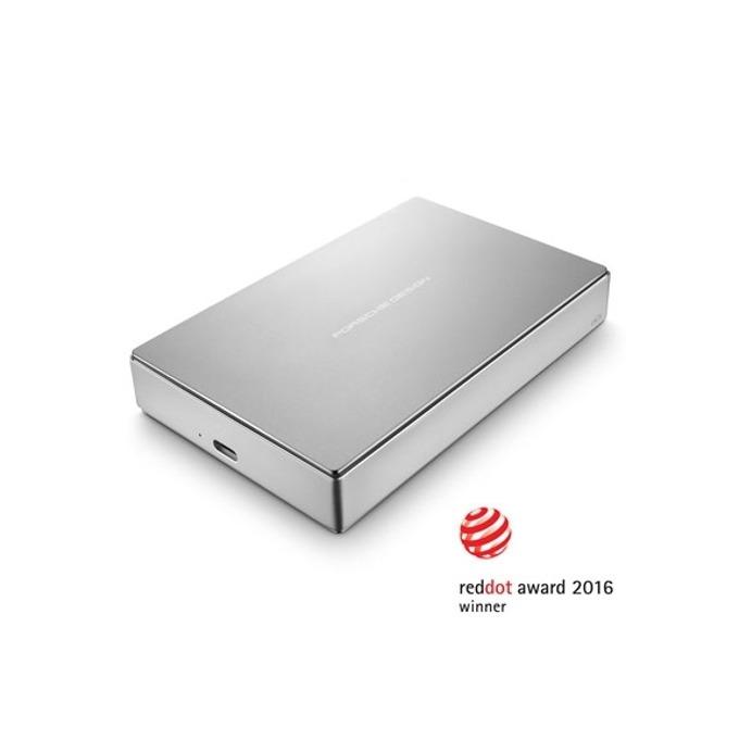 """Твърд диск 5TB LaCie Porsche (сребрист), външен, 2.5"""", USB 3.1 Type C image"""