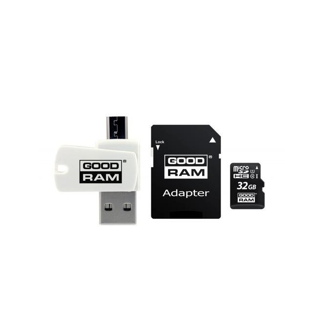 32GB microSDHC с адаптер и четец, Goodram M1A4-0320R11, Class 10 UHS-I, скорост на четене 60 MB/Sec, скорост на запис 10 MB/Sec image