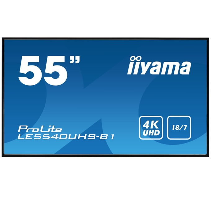 "Публичен дисплей Iiyama LE5540UHS-B1, 54.6""(138.6 cm) 4K UHD AMVA3 LED, VGA, DVI, HDMI, LAN, USB image"