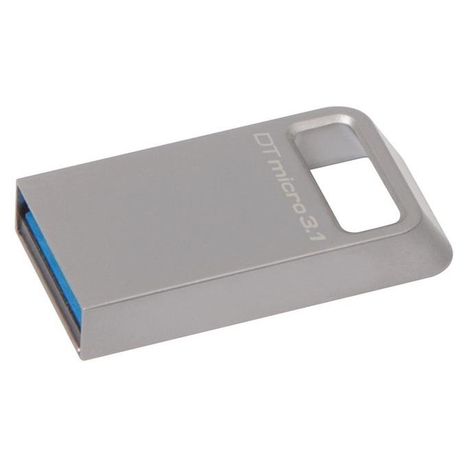 Памет 32GB USB Flash Drive, Kingston DTMicro, USB 3.1, сива image