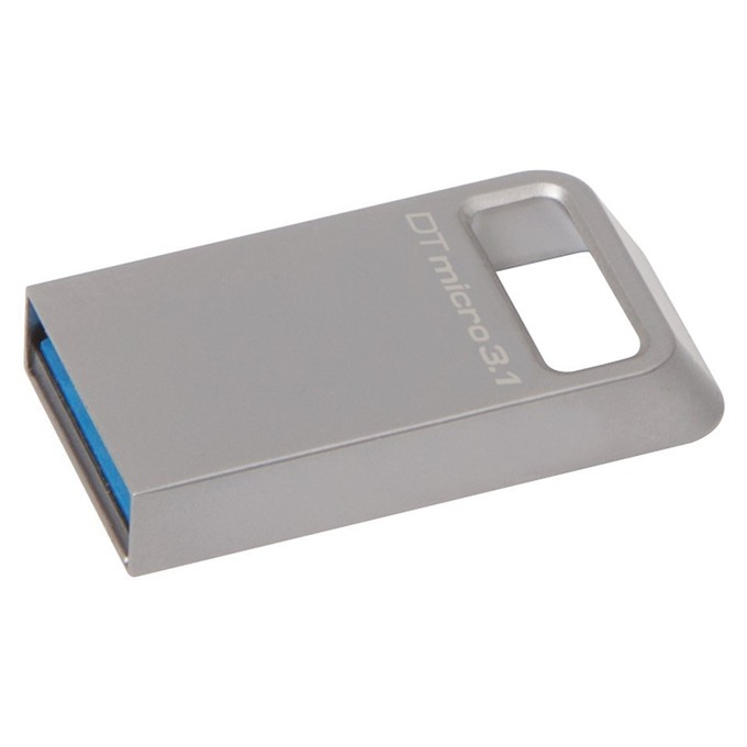 Памет 32GB USB Flash Drive, Kingston DTMicro, USB 3.1, сива image