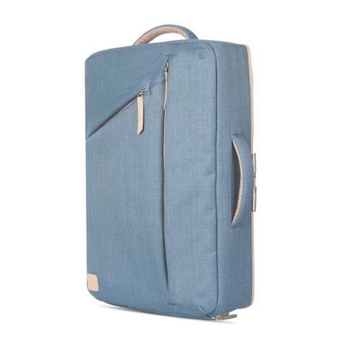 """Раница Moshi Venturo Slim Laptop Backpack за MacBook Pro 15 и лаптопи до 15.4"""" (39.11 cm), еко кожа, удароустойчива, влагоустойчива, удароустойчива, син image"""