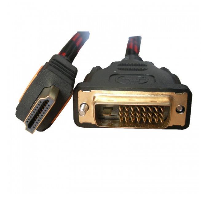 Кабел Digital One SP00045, от HDMI(м) към DVI(м), 3m, екраниран с твърда оплетка, черен image