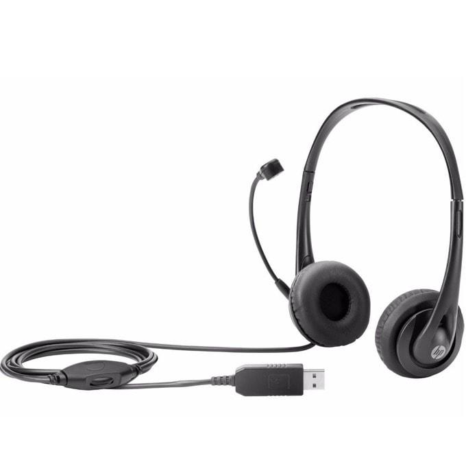 Слушалки HP Stereo USB Headset (T1A67AA), микрофон, USB, черни image