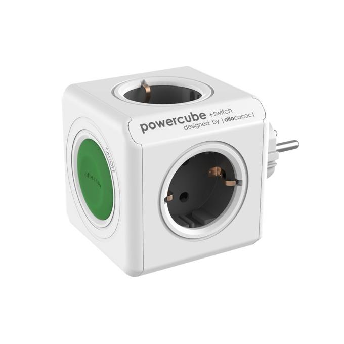 Разклонител Allocacoc Power Cube 1100BL, 4 гнезда, копче, защита от деца, бял/черен image