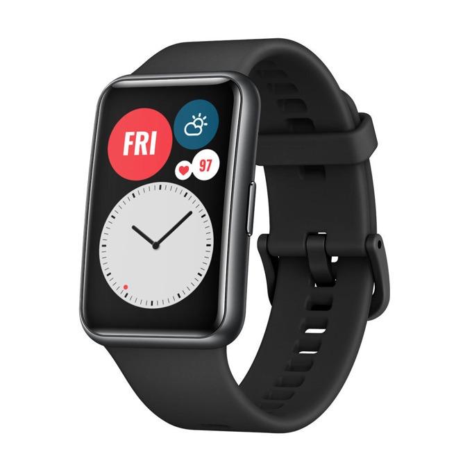 "Смарт часовник Huawei Watch Fit Stia-B09 (Graphite Black), 1.64"" (4.16 мм) AMOLED дисплей, 4GB памет, до 10 дни живот на батерията, водоустойчив, Bluetooth, черен с Black Silicone каишка image"