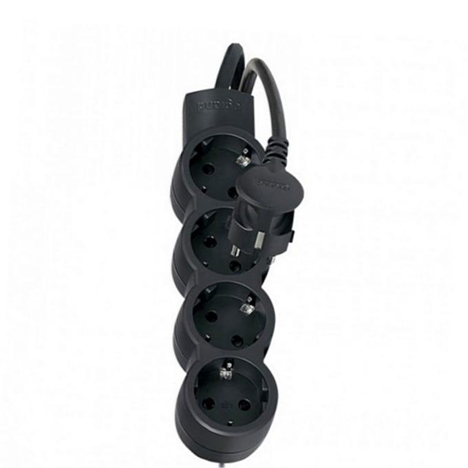 Разклонител Legrand 695025, 4 гнезда, пикова мощност 3500 W, номинален изходен ток 16 A, 1.5 метра кабел, черен image