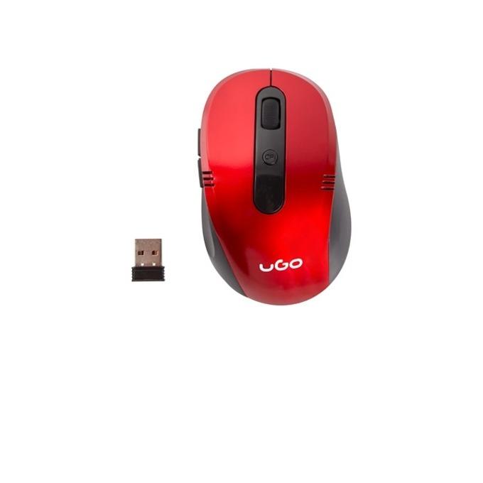 Мишка uGo MY-02, оптична (1800 dpi), безжична, USB, червена image
