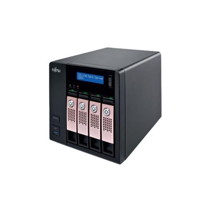 Fujitsu Celvin NAS Q805 (S26341-F108-L722), четириядрен Bay Trail Intel® Celeron® J1900 2.0/2.42GHz, 2 GB DDR3L, 12TB (4x 3TB) HDD SATA, 4x RJ-45, HDMI, 3x USB 3.0, Tower image
