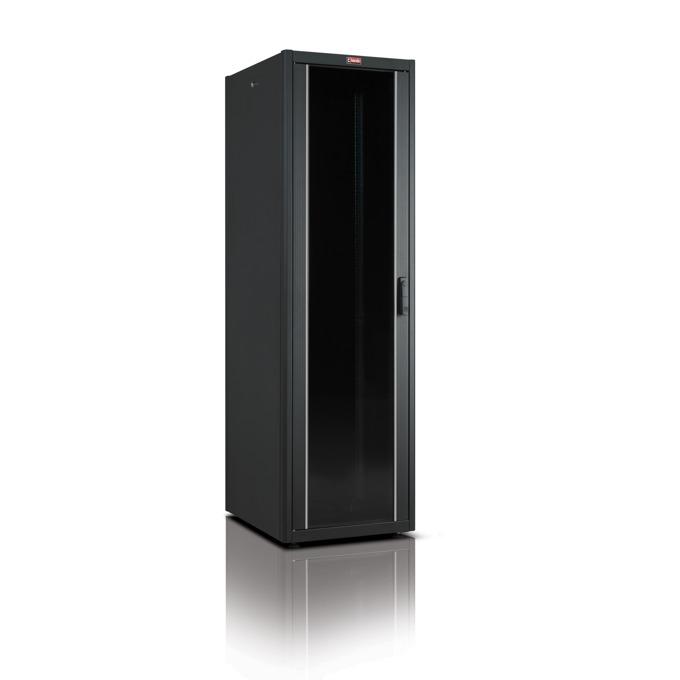 "Комуникационен шкаф Lande LN-DB32U6060-BL, 19"", 32U, 600 x 600 мм, стъклена врата, черен image"