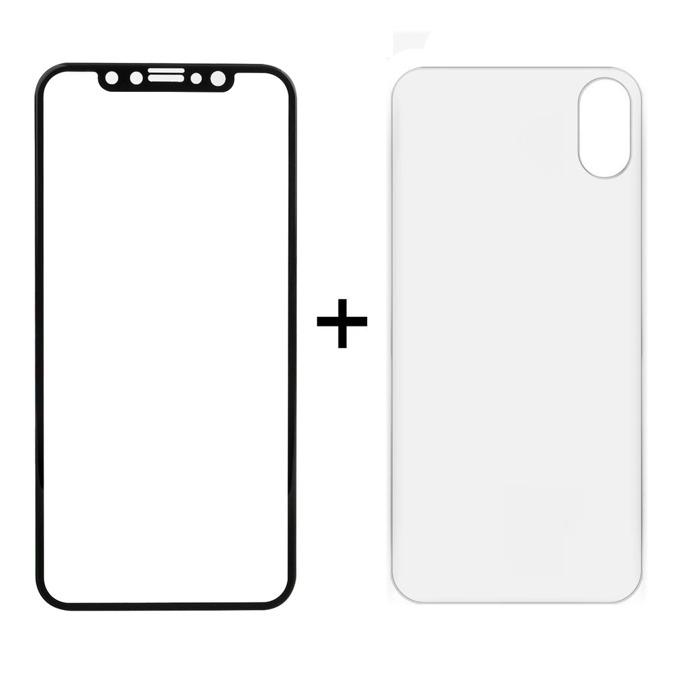 Протектор от закалено стъкло /Tempered Glass/ и гръб Remax Caesar, за Apple iPhone X, смартфон, черен image