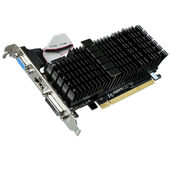 Видео карта GF GT 710, 1GB, Gigabyte GV-N710SL-1GL, PCI-E 2.0, GDDR3, 64 bit, HDMI, DVI image