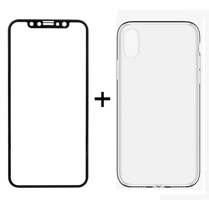 Протектор от закалено стъкло /Tempered Glass/ в комплект с калъф Remax Crystal, за Apple iPhone X, смартфон, черен image