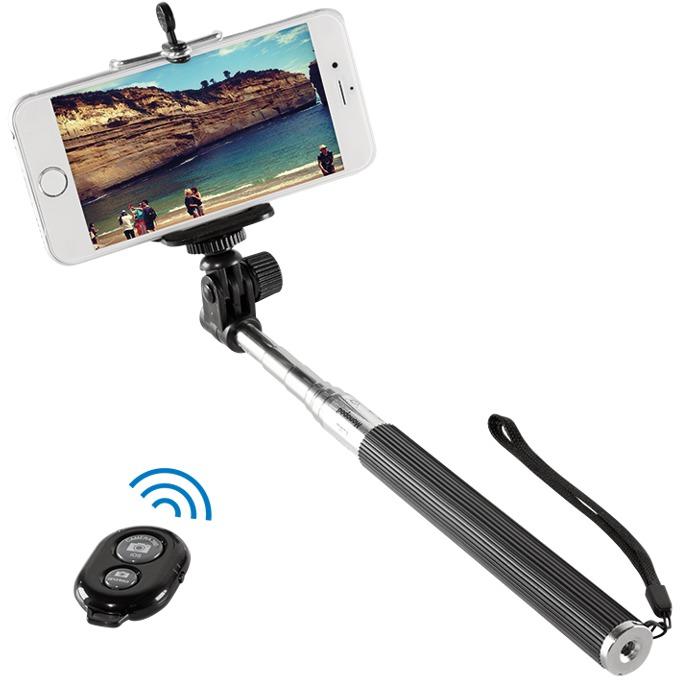 Селфи стик LogiLink bluetooth Selfie Monopod with remote control, за iOS и Android системи, с дистанционно, дължина 22–109 cm  image