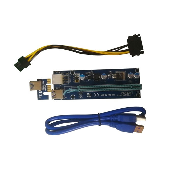 Екстендър Makki MAKKI-SR1701A-470, от PCIe x1(м) към PCIe x16(ж) през USB 3.0, предназначен за добив на криптовалути image