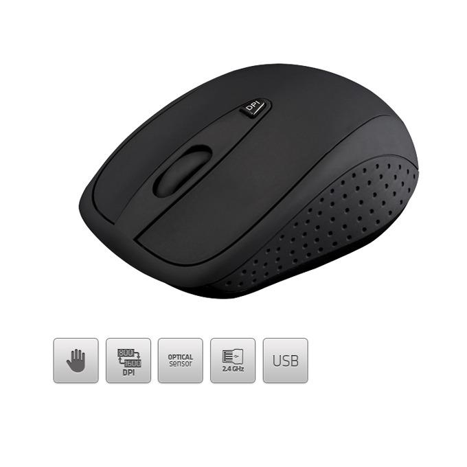 Мишка wireless Modecom MC-WM4,безжична,оптична (1600 dpi),черна  image