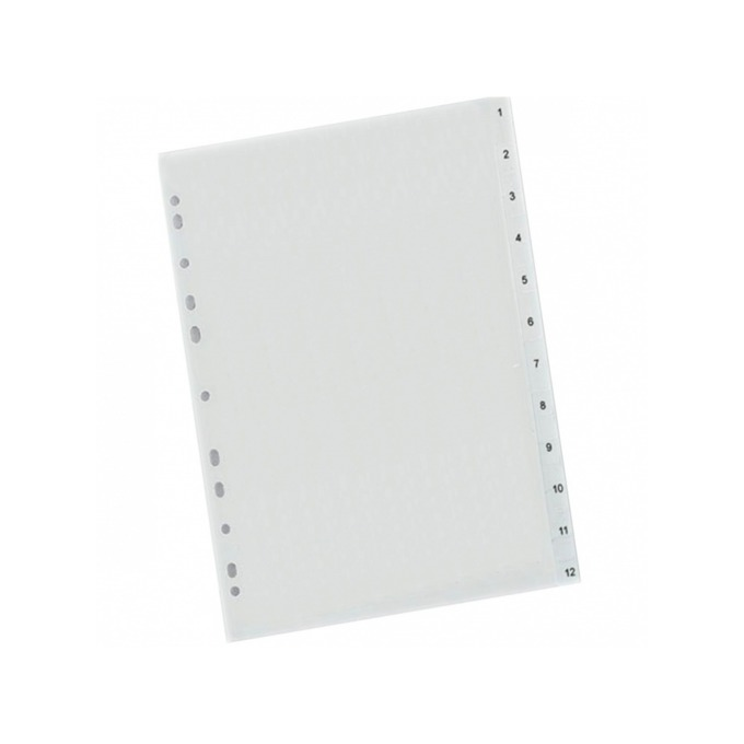 Разделител Exxo, за документи с формат до А4, с номерация от 1 до 12, бял image