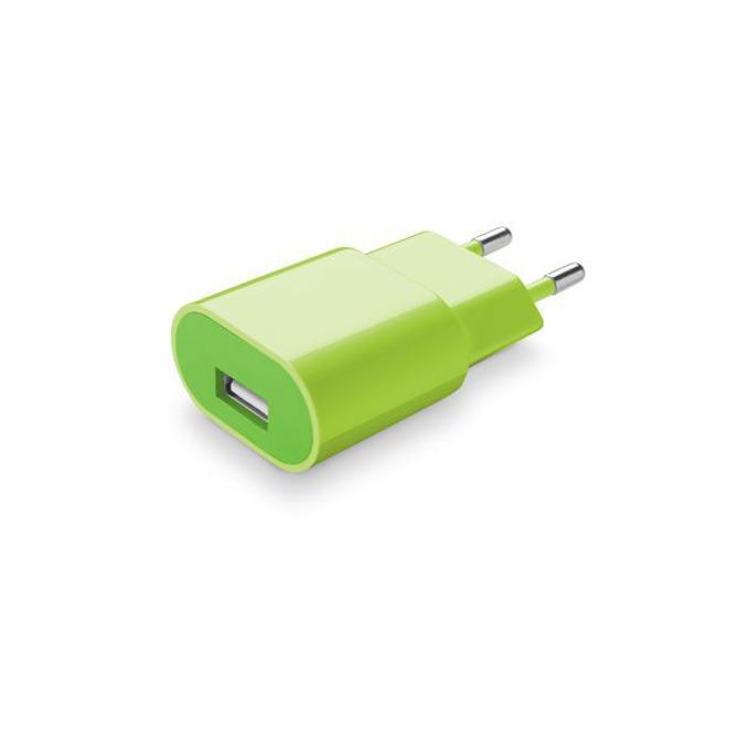 Зарядно у-во /универсално/ Cellular Line, 1A, USB A(ж), за мобилни устройства, зелено image