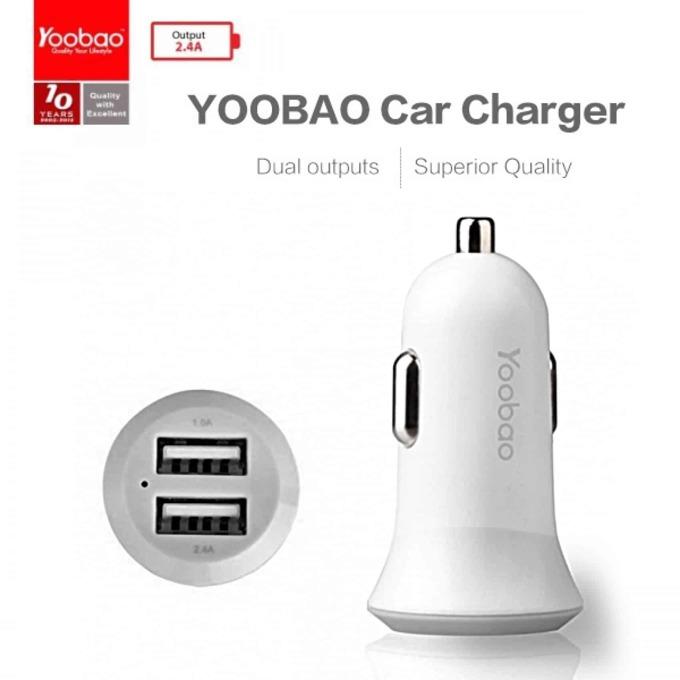 Зарядно устройство Yoobao 2, от автомобилна запалка към 2x USB А(ж), 5V/2.1A, бяло image