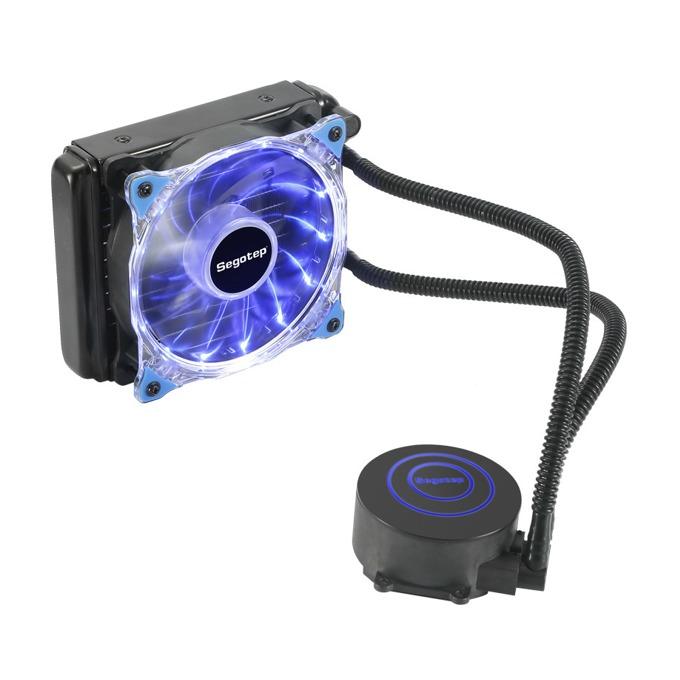 Водно охлаждане Segotep Halo 120, съвместимост с Intel 2011/3/1366/1150/1151/1155/1156, AMD AM4/AM3+/AM3/AM2/AM2+/FM2/FM2+/FM1, синя LED подсветка, прозрачен-черен image