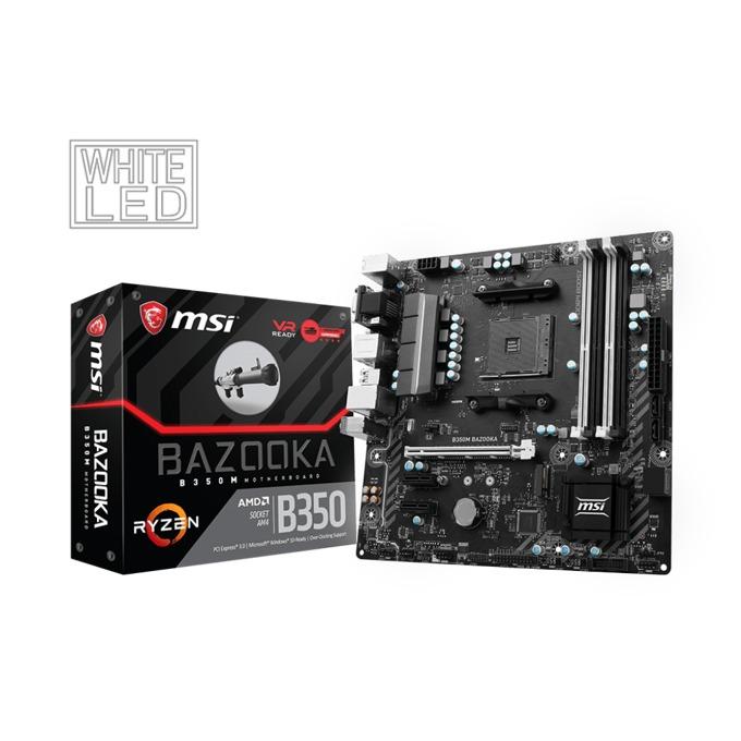 Дънна платка MSI B350M BAZOOKA, B350, AM4, DDR4, PCI-E, 4 x SATA 6Gb/s, 1 x M.2 slots, 6 x USB 3.1, M-ATX image