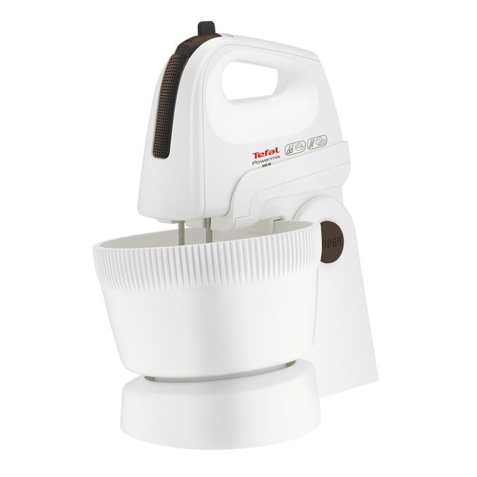 Миксер Tefal Powermix HT615138, 500 W, 5 степени на работа, с турбо, 3.3 л. обем на купата, бъркалки за тесто, бял image
