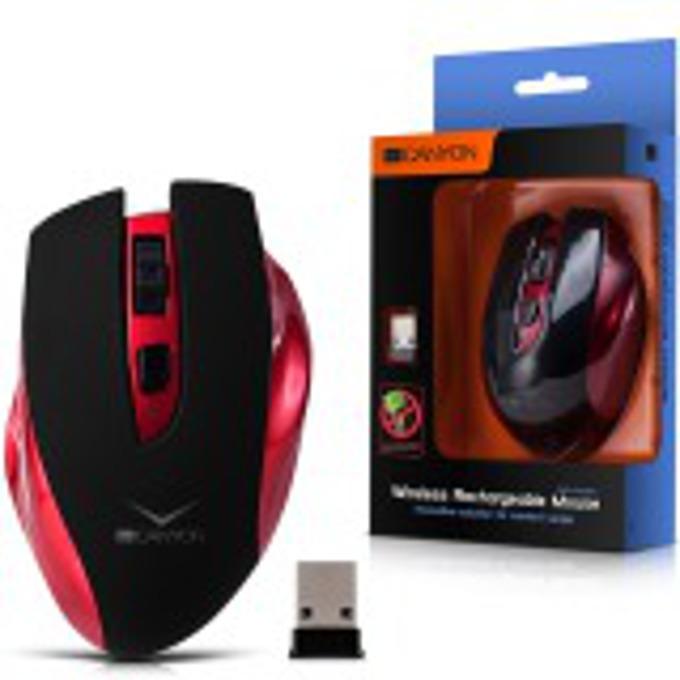 Мишка Canyon Wireless Rechargeable, оптична (1600 dpi), безжична, USB, червен, с 3 бутона image