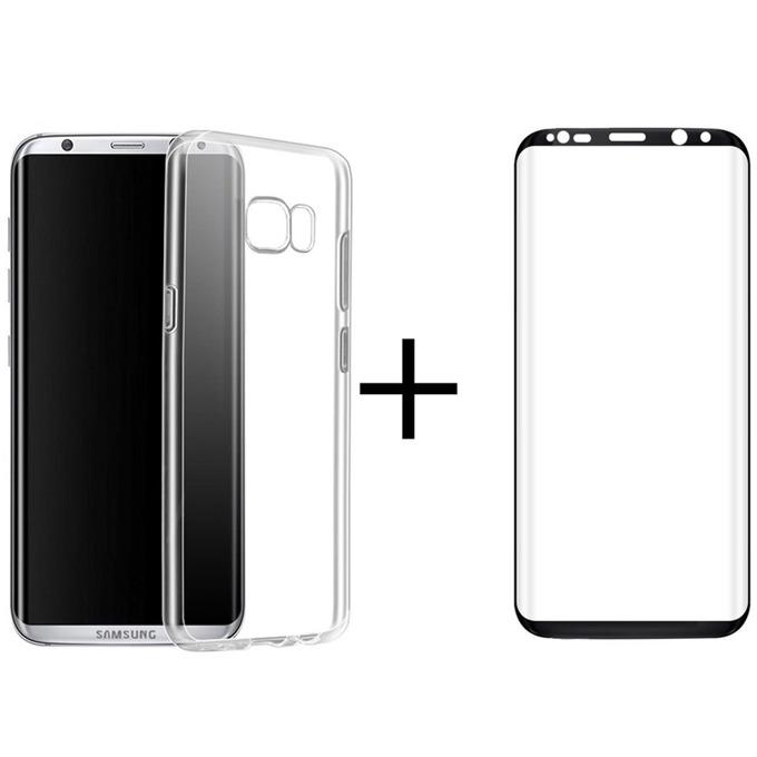 Комплект стъклен протектор + калъф Remax Crystal, за Samsung Galaxy S8 Plus, черен image