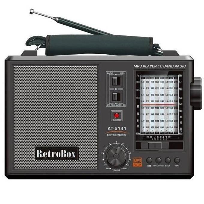 Радио DIVA RETROBOX BT, FM/SW/MW, MP3 плеър, възпроизвеждане на музикални файлове от MicroSD карта или USB, bluetooth, работи и на батерии, черно image