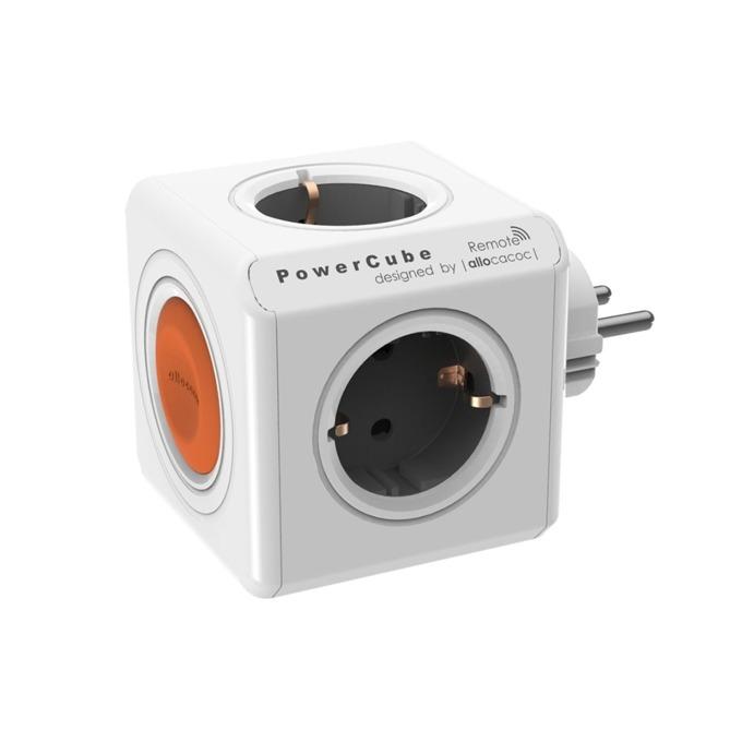 Разклонител Allocacoc Power Cube 1510WT, 4 гнезда, дистанционно управление, защита от деца, бял/сив image