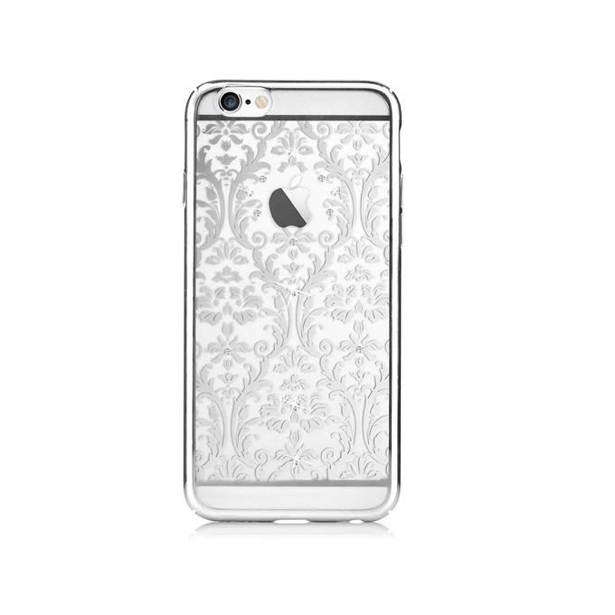 "Калъф за Apple iPhone 6/6S, страничен протектор с гръб, поликарбонат, Devia Baroque Case, с кристали ""Сваровски"", сребрист image"