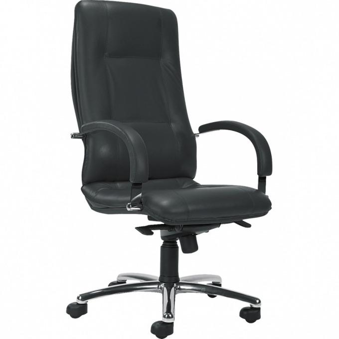 Директорски стол Star Steel, естествена кожа, ергономични седалка/облегалка, люлеещ механизъм, анти-шок функция, хромирана основа, фиксирани метални подлакътници, черен image